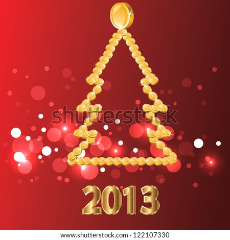 2013.Christmas tree of gold coins. - stock vector
