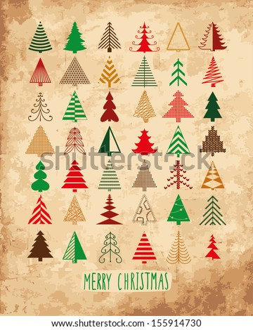 42 Christmas trees - stock vector