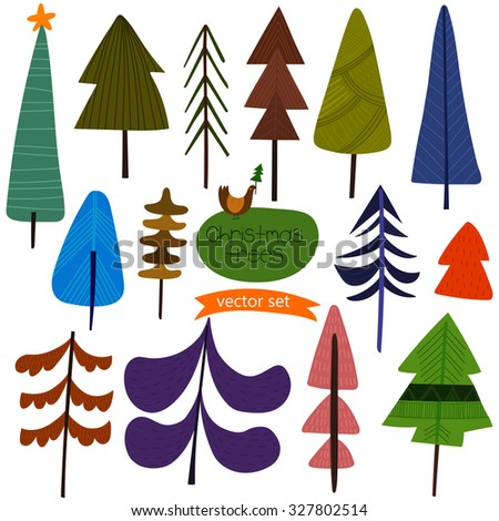 Christmas trees- Stylish New Year and Christmas set in vector with a lot of different X-mas trees - stock vector