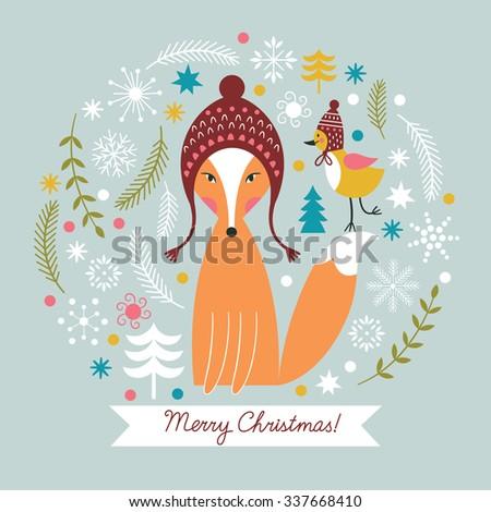 Christmas vector illustration,  Christmas card - stock vector