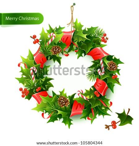 Christmas wreath with fir and holly - stock vector