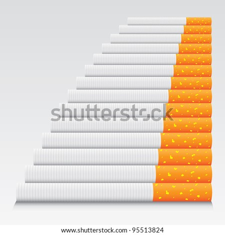 cigarettes in line - detailed realistic illustration - stock vector