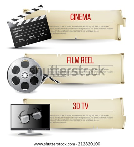 3 cinema banners in vintage style - stock vector