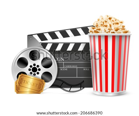 Cinema clapper film reel drink popcorn and tickets. Isolated white background. Vector