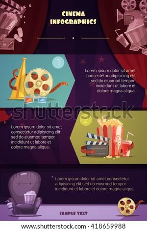 Cinema infographic set with movie production symbols cartoon vector illustration  - stock vector