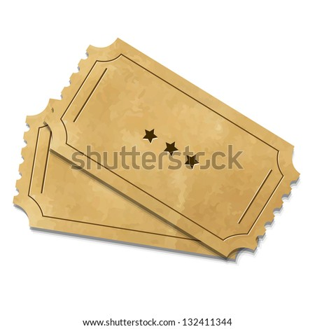 2 Cinema Ticket, Isolated On White Background, Vector Illustration - stock vector