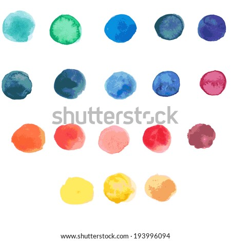 18 circle form brush stroke. Rounded colored shapes on white background. Drawing created in watercolor sketch handmade technique. Vector illustration design element 8 eps - stock vector