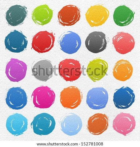 25 circle form brush stroke. Rounded colored shapes on white watercolor texture paper background. Drawing created in ink sketch handmade technique. Vector illustration design element 10 eps - stock vector