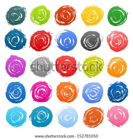 25 circle form colored brush stroke on white background. Drawing created in ink sketch handmade technique. Vector illustration design element save in 8 eps - stock vector