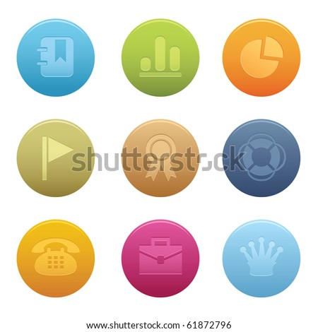 04Circle Office Icons Professional vector set for your website, application, or presentation. The graphics can easily be edited colored individually and be scaled to any size - stock vector