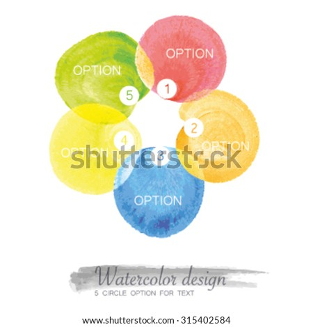 5 circle option with watercolor design - stock vector