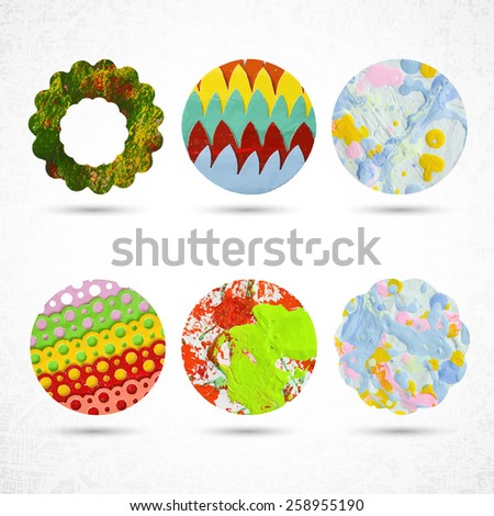 6 circles made with paint, brush, squeeze bottle, scissors and paper. Highly textured. Rounded shapes, scallops on white, grunge background. Handmade. Vector illustration design circle elements 10 eps