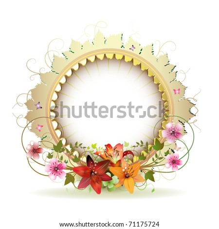 Circular floral frame with lilies and gold decoration
