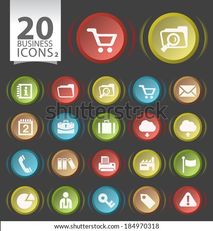 20 Circular Modern Elegant Buttons with Flat Business Icons on White Background 2. - stock vector