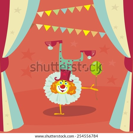 circus clown card design - stock vector