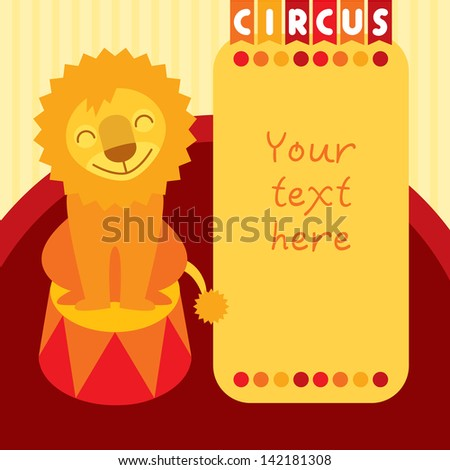 Circus lion sitting on pedestal.  Layered file - stock vector