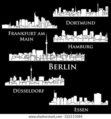 6 city in Germany, Deutschland ( Berlin, Hamburg, Essen, Dusseldorf, Dortmund, Frankfurt am Main) - stock vector