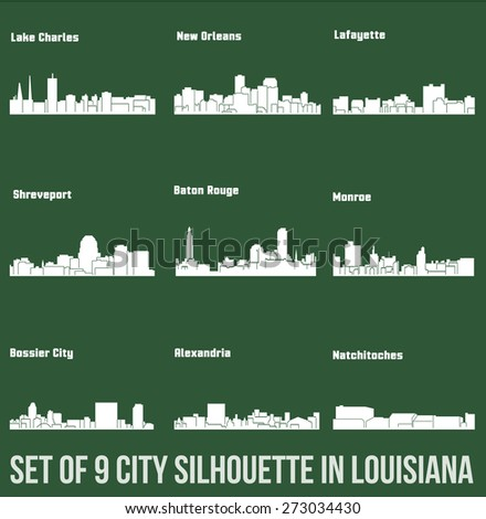 9 City in Louisiana ( Baton Rouge, Monroe, Shreveport, New Orleans, Lake Charles, Lafayette, Bossier City, Alexandria, Natchitoches ) - stock vector