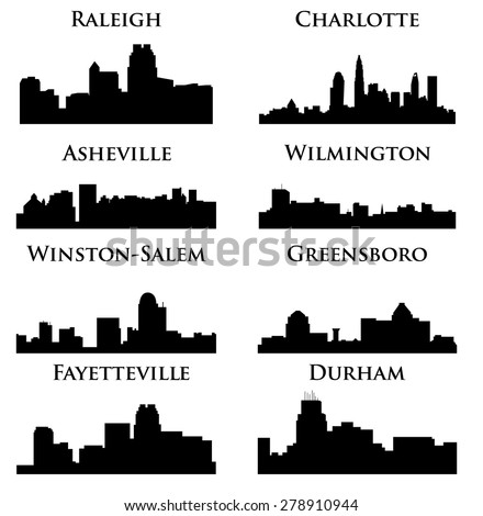 8 city in North Carolina ( Charlotte, Raleigh, Asheville, Wilmington, Greensboro, Winston-Salem, Durham, Fayetteville ) - stock vector