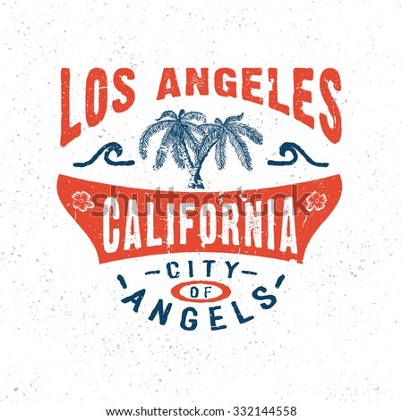 California typography tshirt print vector illustration Logo designers los angeles