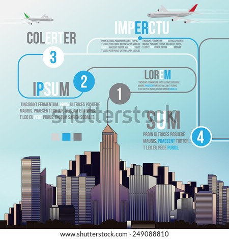 City Skyline Background with Infographic - Vector Illustration - stock vector