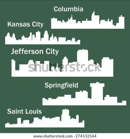 5 city skyline in Missouri ( Jefferson City, Kansas City, Columbia, Springfield, Saint Louis ) - stock vector
