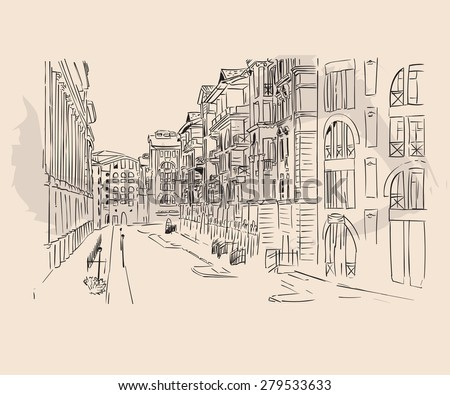city street sketch. Vector hand-drawn background. Line drawing clipart