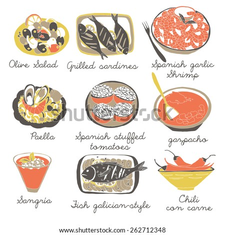 9 Classic Spanish Dishes - stock vector