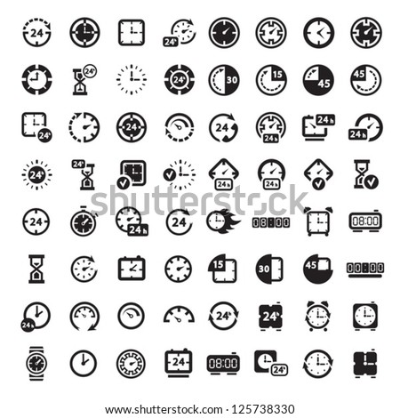 64 Clock Icon Set for web and mobile. All elements are grouped. - stock vector