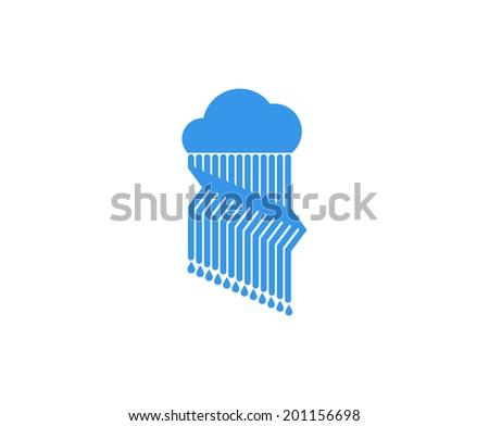 Cloud and rain icon. - stock vector