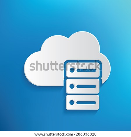 Cloud data design on blue background,clean vector - stock vector