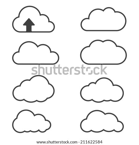 Cloud icons for cloud computing for web and app - stock vector