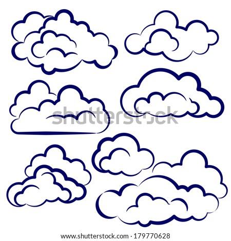 clouds collection sketch cartoon vector illustration - stock vector