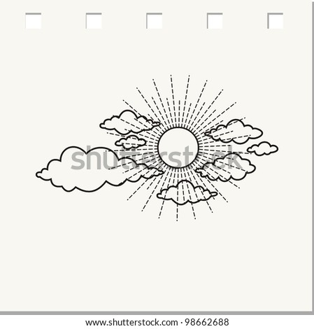 cloudy weather doodle - vector illustration - stock vector
