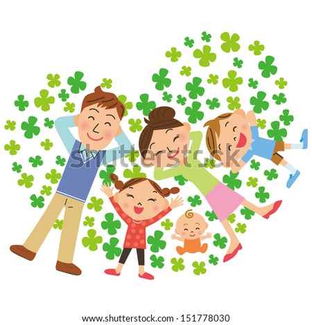 clover and family - stock vector