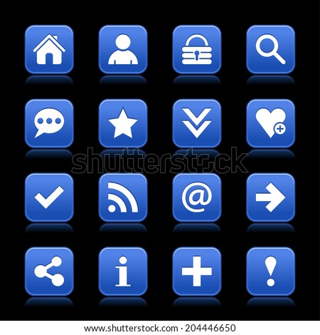 16 cobalt satin icon with white basic sign on rounded square web button with color reflection on black background. This vector illustration internet design element save in 8 eps - stock vector