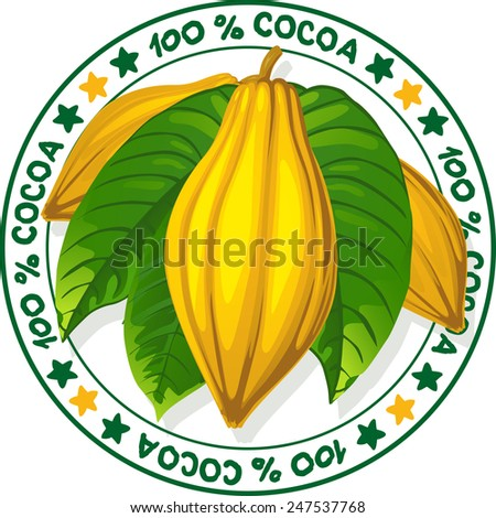 100 % cocoa - vector stamp - stock vector