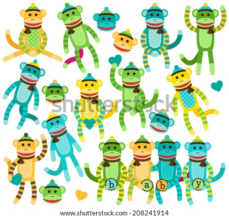 Collection of Baby Shower or Gender Neutral Sock Monkey Vectors - stock vector