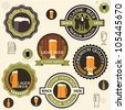 Collection of beer badges and labels in vintage style - stock vector