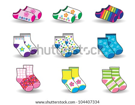 collection of socks for baby - stock vector