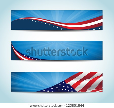 Collection of united states flag conceptual banners. / American Banner - stock vector