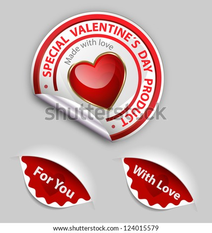 Collection of Valentine�´s day special sale product labels
