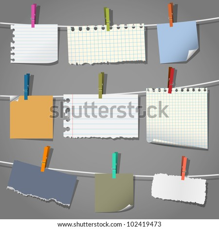 Collection of various notes and a clothes pegs. Vector eps10