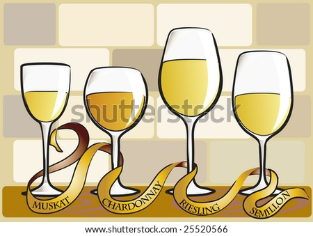 collection of vector wine glasses - stock vector