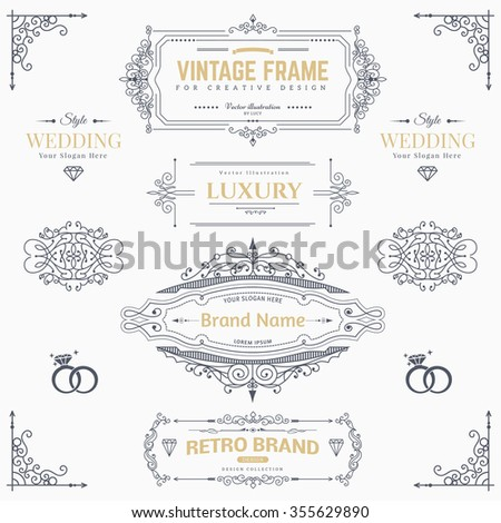 Collection of vintage patterns. Flourishes calligraphic ornaments and frames. Retro style of design elements, postcard, banners, logos. Vector template - stock vector