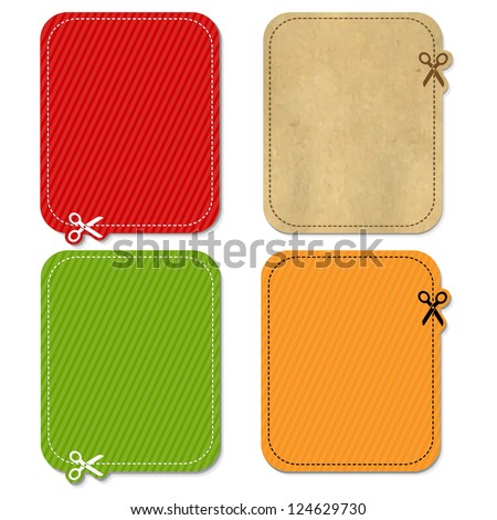 4 Color Announcement ��¡oupon, Isolated On White Background, Vector Illustration - stock vector