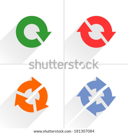 4 color arrow refresh, reload, rotation, loop icon. Volume 04. Flat icon with gray long shadow on white background. Simple, solid, plain, minimal style. Vector illustration web design elements 8 eps - stock vector