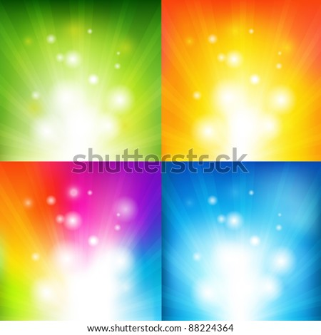 4 Color Backgrounds With Beams, Vector Illustration - stock vector