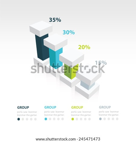 4 color 3d infographic the presentation of data template