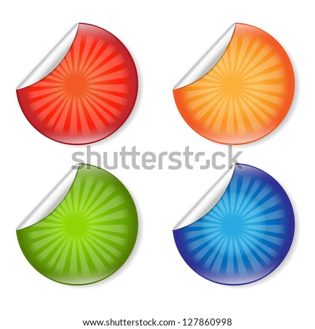 4 Color Labels With Gradient Mesh, Isolated On White Background, Vector Illustration - stock vector